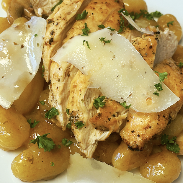 How To Make Mushroom & Truffle Potato Gnocchi With Pan Grilled Chicken [VIDEO]